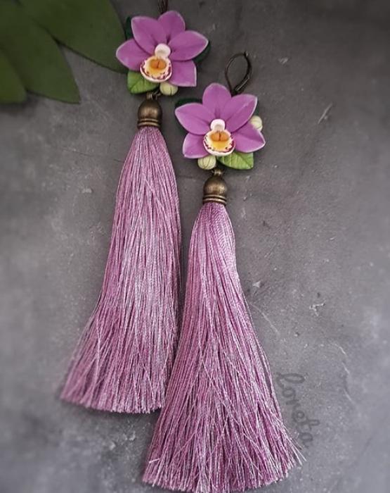 """Skaru auskari """"Orhidejas"""" ceriņu krāsā"""